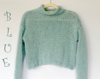 Mohair Sweater Hand Knit Cropped Jumper Casual Rustic Blue Everyday Top