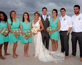 Sola Bridal Bouquet, Beach Bouquet,Coastal Wedding, Beach Wedding, Destination Wedding, Baby's breath, Jute, Sea grass