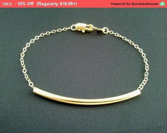 Simple Line Gold Bracelet - Gold Bar, Bangle,Friendship, Charm, Chain Bracelet, Birthday Gift, Christmas Bracelet, Graduation gift