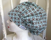 Scrub Hat Bouffant Style Baby Blue with Brown Design