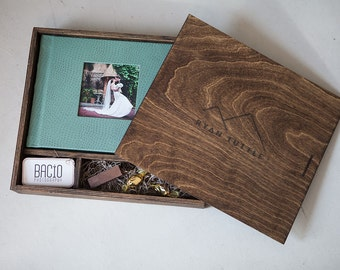 8.5x10.5x2 - Wood Album Box with area for USB