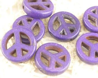 Purple Magnesite Howlite Peace Symbol Beads (6)