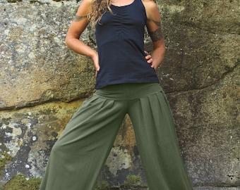 Harem Pants-Baggy pants-loose fit pants-wide leg pants-belly dance clothes-cotton stretch yoga-relaxed pants-faery festival pants-dance wear