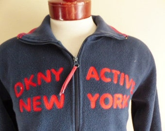 vintage 90's DKNY Active Donna Karan New York navy blue reverse pile fleece red collar cuff stripe embroider logo zip up sweatshirt jacket L
