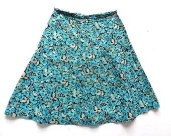 Vintage 70's Floral Print Midi Skirt UK 10