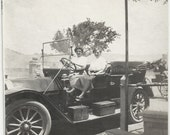 Old Photo 2 Women sitting in Car 1910s Automobile Photograph snapshot vintage