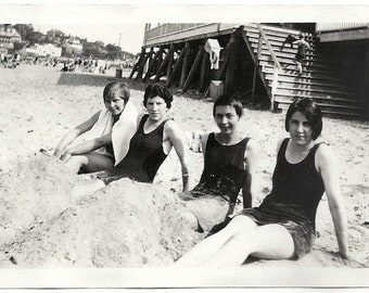 Old Photo Teen Girls at Nantasket Beach wearing Swimsuits 1920s Photograph snapshot vintage