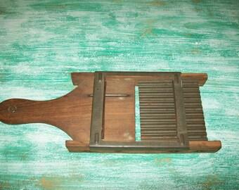 French fry cutter shredder mandolin vintage kitchen gadget crinkle cut decor potatoes country rustic wood metal slide slice