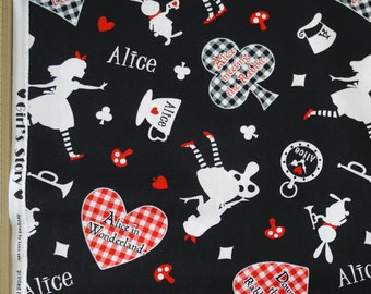 Lecien Japanese Fabric / Alice in Wonderland Fabric Black - 110cm x 50cm