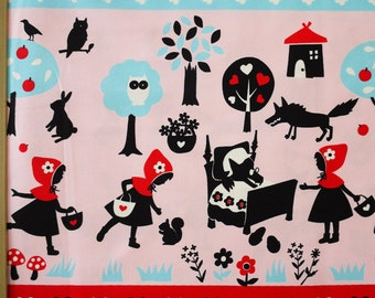Lecien Japanese Fabric / Little Red Riding Hood Fabric Pink and Light Blue - 110cm x 50cm