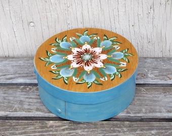Tole Painted Wooden Box - Blue & Pink Folk Art Flowers - Mid Century