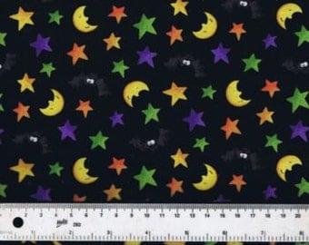Fat Quarter Happy Haunting Toss Moons Stars Bats 100% Cotton Quilting Fabric
