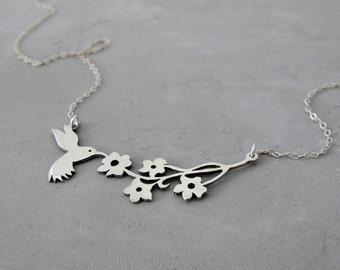 Flower Necklace | Hummingbird necklace | Silver Pendant Necklace
