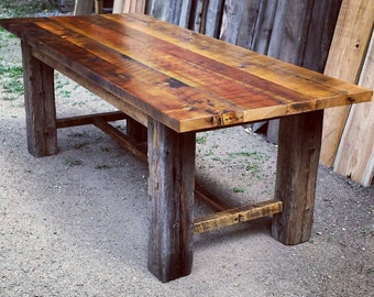 Reclaimed Barnwood Trestle Dining Table