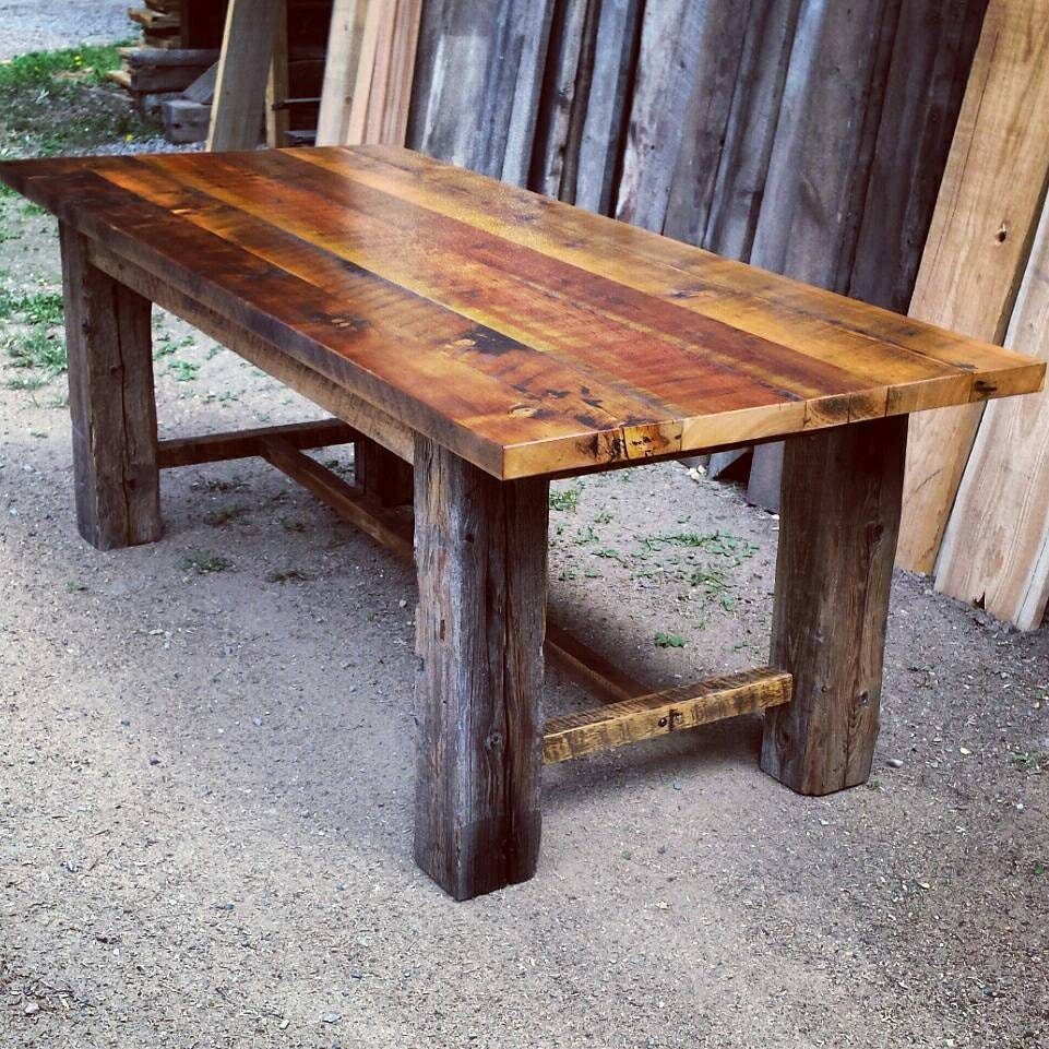 Reclaimed barnwood trestle dining table by echopeakdesign Rustic wood dining table