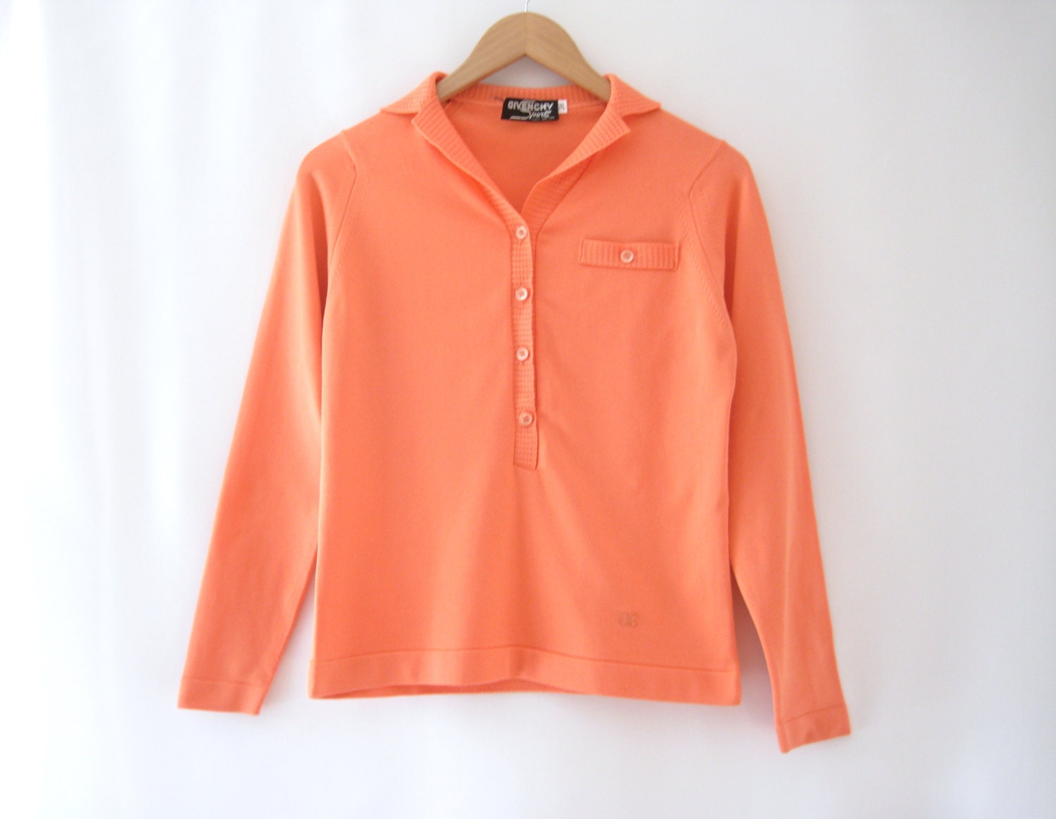 70s givenchy sport sweater pastel orange button up pullover. Black Bedroom Furniture Sets. Home Design Ideas