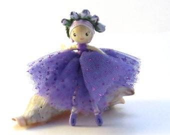 Little ballerina doll, miniature bendy doll, purple small doll, poseable doll, miniature ballet dancer, purple ballerina, little dancer