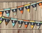 Pumpkin Birthday Banner, Little Pumpkin Banner, Fall Banner 1st Birthday Party Banner PRINTABLE Turning One Chalkboard Pennant Flags