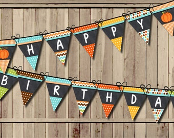 Pumpkin Birthday Banner, Little Pumpkin Banner, Fall Banner 1st Birthday Party Banner PRINTABLE Turning One Chalkboard Pennant Flags