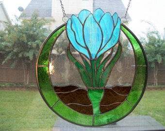 Stained Glass Spring Crocus Turquoise