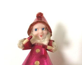VINTAGE ELF GNOME - Christmas Figure - Pink - Japan - Figurine - Plastic Chenille