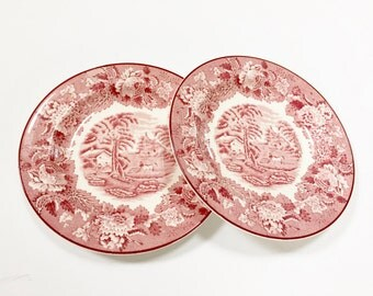 "VINTAGE WOOD & SONS - 6 3/4"" Plates - Woods Ware - Enoch Woods English Scenery - Made in England - Red Transferware"