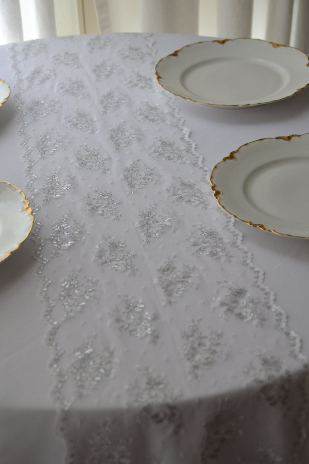 Silver and white lace table runner 10 wide 3 ft 12ft for 12 ft table runner