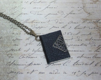 Black Leather Book Necklace, Miniature Book Jewelry, Book Lovers Jewelry, Tiny Book Necklace, Book Charm Necklace, Blank Book Jewelry