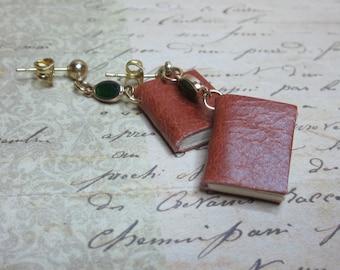 Handmade Miniature Book Earrings, Leather Book Earrings, Blank Book Earrings, Book Lovers Earrings, Tiny Book Earrings, Mini Book Earrings