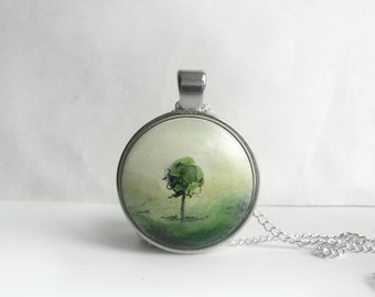 Tree Pendant, Original Painting Necklace,  Hand Painted Landscape Jewelry, Tree Charm in Green, Handcrafted Art Jewelry