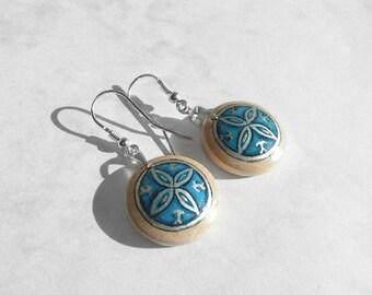 Hand Painted Folk Earrings, Blue Earring, Silver Dangle Earrings for Women, Wood Jewelry, Wooden Crafts, Hand Painted Earrings