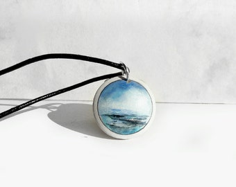 Small Wood Pendant, Hand Painted Necklace, Black Leather Cord Wood Jewelry, Sea Pendant, Ocean View, Small Painting, Jewelry from Germany