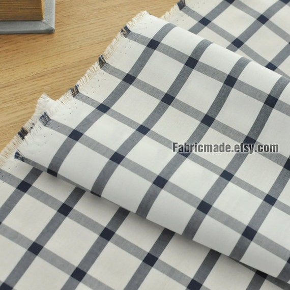 Japanese Cotton Fabric Navy Blue White Plaid Cotton Fabric - 1/2 Yard