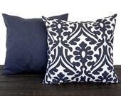 Pair of Throw Pillow covers, Pillow Covers, Cushion, Decorative Pillow, Vintage Indigo Blue White contemporary geometric modern decor