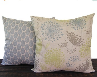 Pillows, Throw Pillow Covers, Cushion, Decorative Pillow, Pair of blue green kiwi gray beige oatmeal geometric modern decor