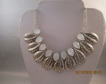 SALE Silver Tone Leaf Pendant Necklace with White Teardrop Beads on a Silver Tone Chain
