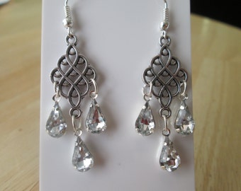 Silver Tone Chandelier Earrings with Clear Teardrop Crystal Dangles
