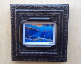5 x 7 distressed denim metal color antique tin ceiling tile picture frame
