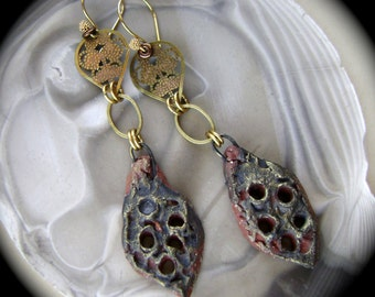 The Caverns, mixed media jewelry, ancient style, assemblage jewelry, rustic earrings, assemblage earrings, ScorchedEarth, AnvilArtifacts