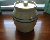 Vintage stoneware container with lid crock blue striped and tan container kitichen decor primitive rustic jar with lid storage