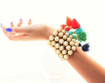 Light Tan Wood and Gold Hematite Beaded Cotton Tassel Bracelets