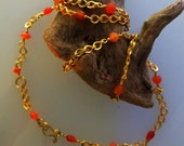 Ancient style hand woven chain with anvuent carnelian by ann biederman
