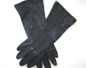 "Vintage Long Woman's Leather Gloves, Blue Black, size 6 1/2, circa 1960s, 10 1/4"" long, Retro Style, Women's Accessories, gift idea"