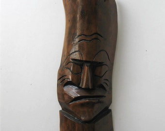 """SALE, Vintage wooden hand carved tribal mask, Tiki Bar, Man Cave, Polynesian wall hanging, 7' x 18"""", gift idea"""