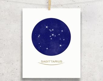 Sagitarrius Minimal Style Zodiac Constellation Printable