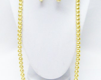 "28"" Yellow Glass Pearl Necklace & Earrings Set"