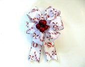 Small Christmas candy gift bow, Bow for Christmas trees, Red Christmas berry gift bow, Bow for gift baskets, Christmas in July bow (C496)