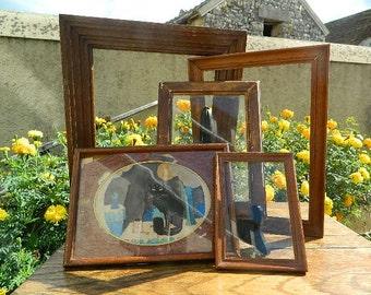 Set of 5 frames or framing in very old wood