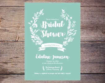 Printable Sage Green Floral Bridal Shower Invitation Rustic Wedding Shower Invite Shabby Chic DiY Print at Home - Edaline