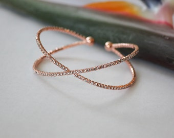 Rose Gold  Bracelet featuring Cubic Zirconia Crystals Cuff Bracelet